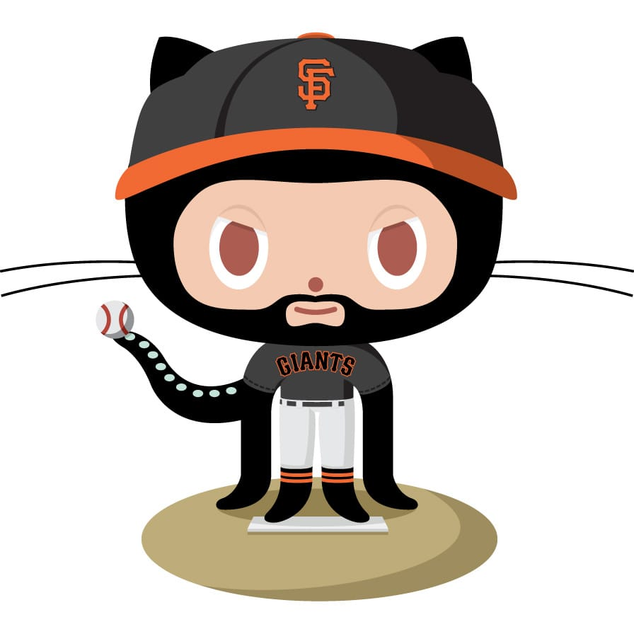 octocat dressed as a San Francisco Giants